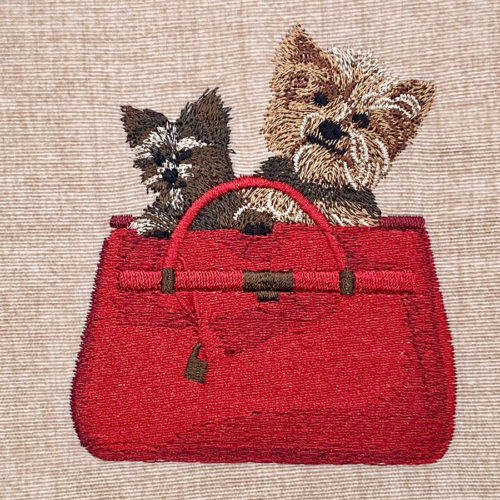 dogs in bag embroidery design