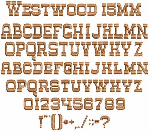 Westwood 15mm Font
