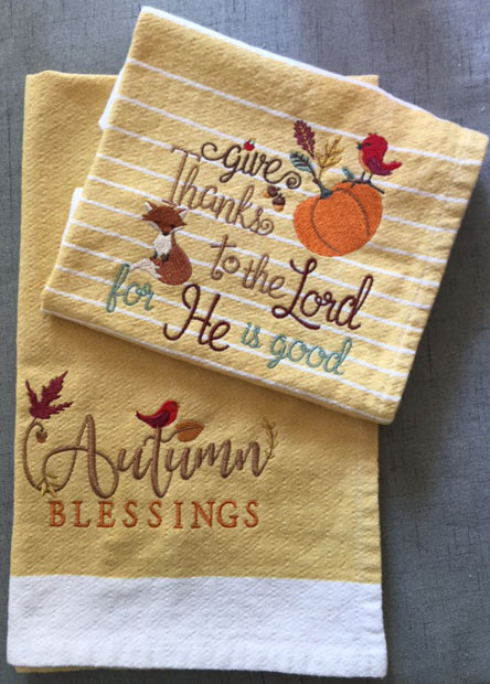 fall feelings towels sew out