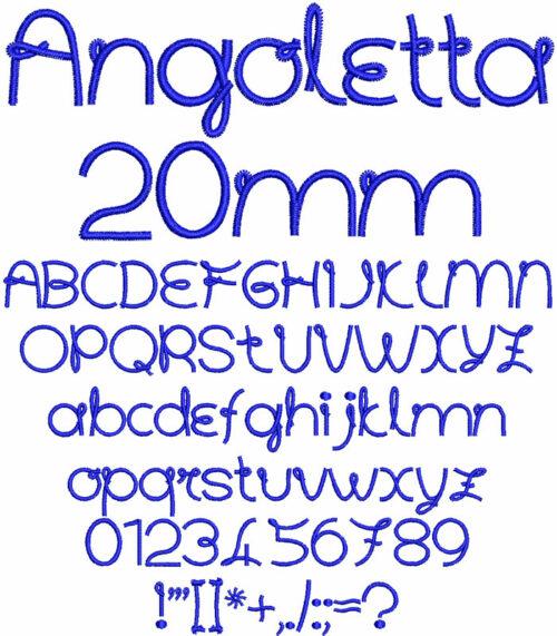 Angoletta 20mm Font