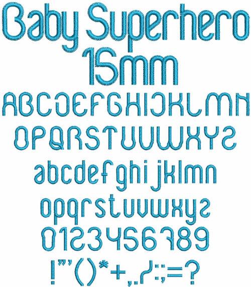Baby Superhero 15mm Font