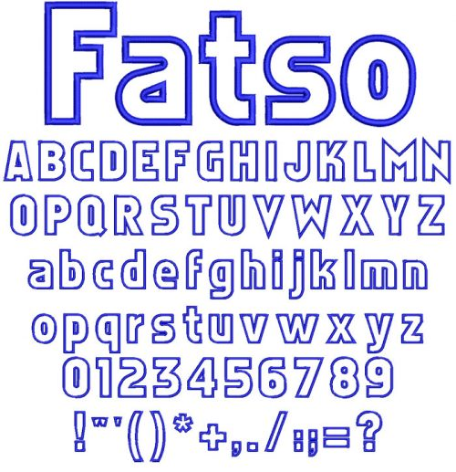 Fatso Applique 80mm Font
