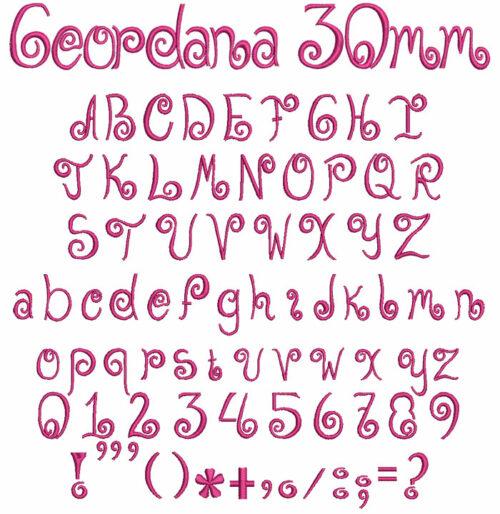 Geordana 30mm Font