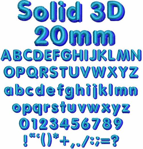 Solid 3D 20mm Font