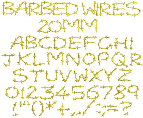 Barbed Wires 20mm Font