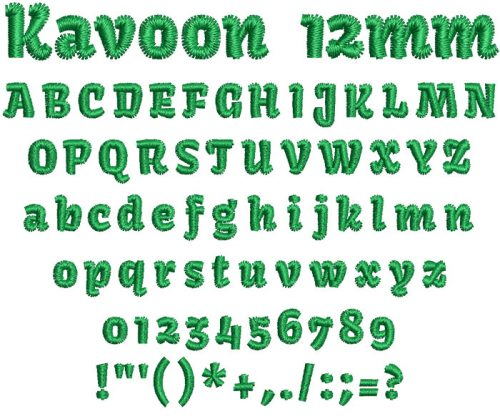 Kavoon 12mm Font