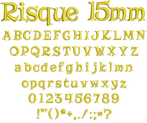 Risque 15mm Font