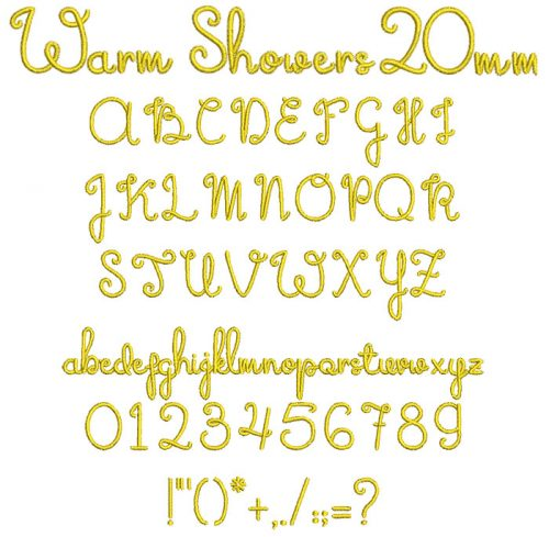 Warm Showers 20mm Font