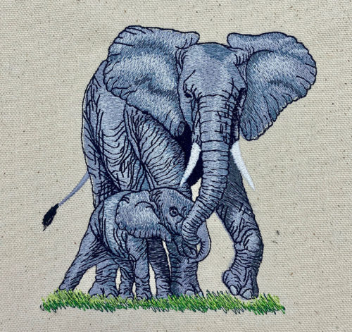 elephant with baby embroidery design