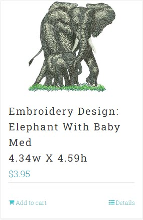 Elephant Embroidery Design for USB