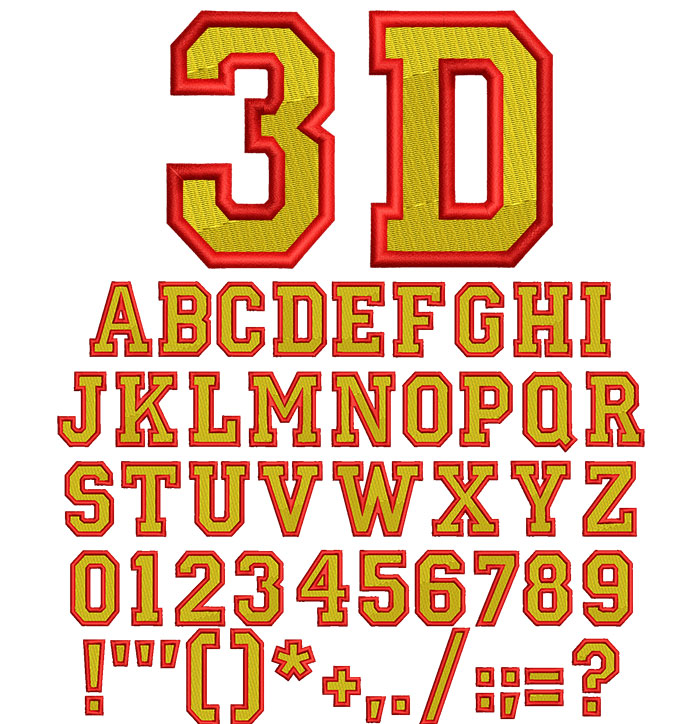 3D College Fill 50mm Font