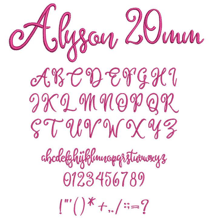 Alyson 20mm Font