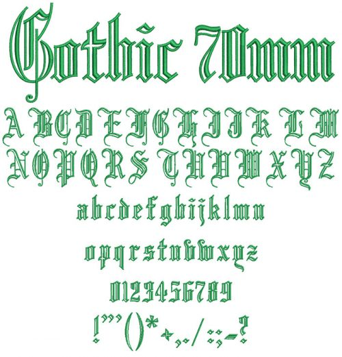 Gothic Outlines 70mm Font