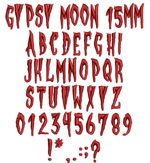 Gypsy Moon 15mm Font