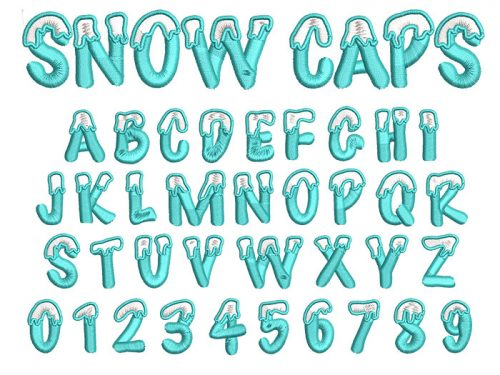 Snow Caps 2 color 30mm Font