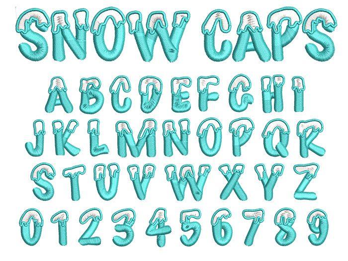 Snow Caps 2 color 30mm Font