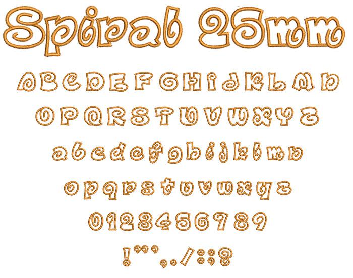 Spiral 25mm Font