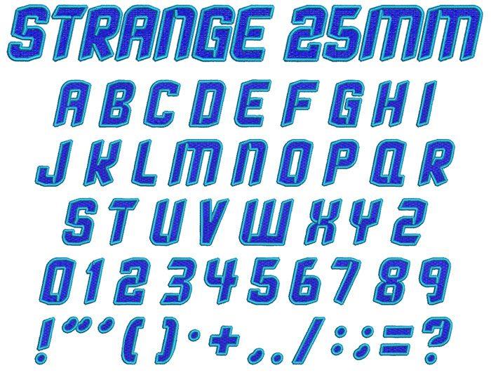 Strange 2 color 25mm Font