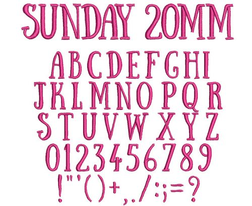 Sunday 20mm Font