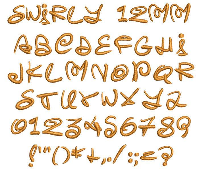 Swirly 12mm Font