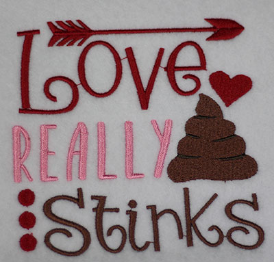 love really stinks embroidery design