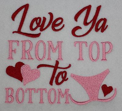 love ya top bottom embroidery design
