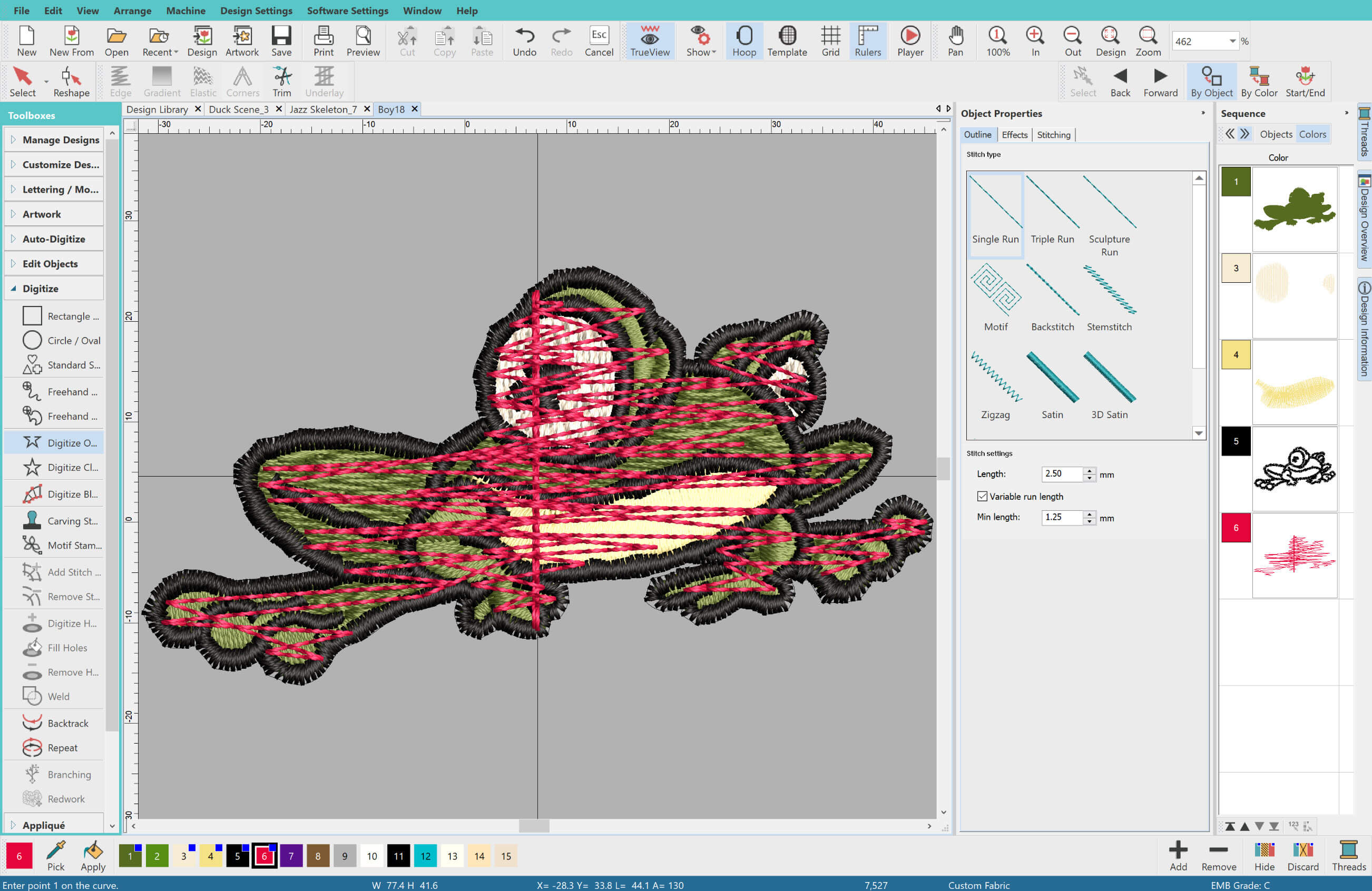 Underlay in Embroidery Software