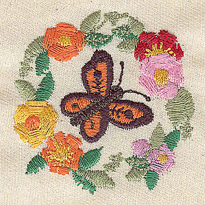 Embroidery Design: Butterfly in circle of flowers 2.00w X 2.00h