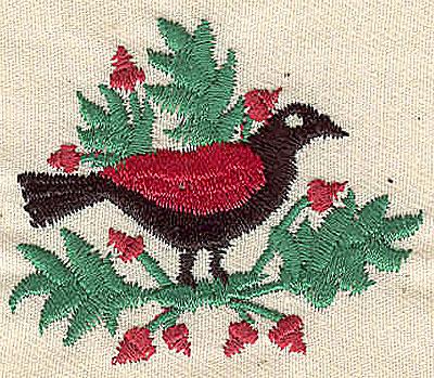 Embroidery Design: Bird on limb 2.07w X 1.80h