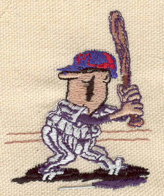 Embroidery Design: Baseball player cartoon 2.00w X 2.22h