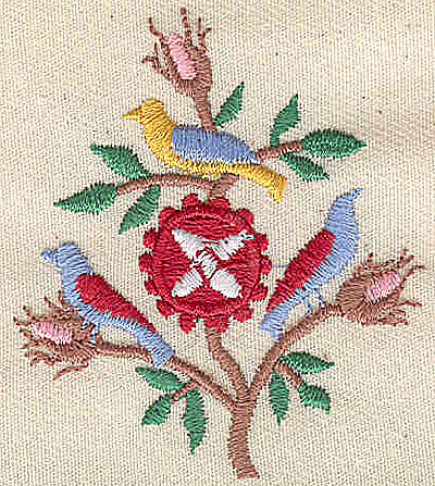 Embroidery Design: Three birds and rose buds 2.00w X 2.25h