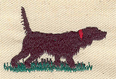 Embroidery Design: Dog on grass 2.27w X 1.49h