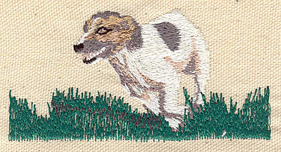 Embroidery Design: Dog running on grass 3.68w X 1.90h