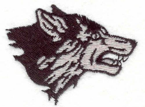 """Embroidery Design: Wolf head E 2.49""""w X 1.90""""h"""