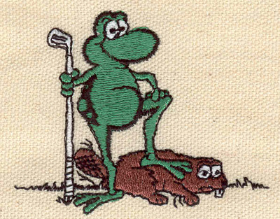 Embroidery Design: Frog and beaver 2.72w X 2.17h