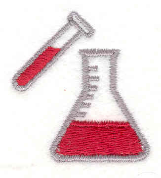 Embroidery Design: Beaker & Test Tube 1.50w X 1.40h