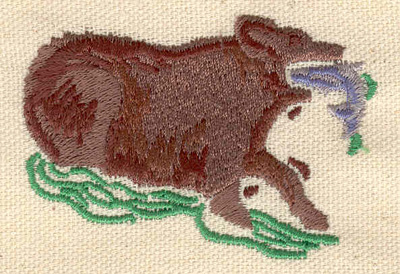 Embroidery Design: Grizzly bear fishing 2.65w X 1.85h