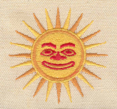 Embroidery Design: Sun with face 2.55w X 2.50h