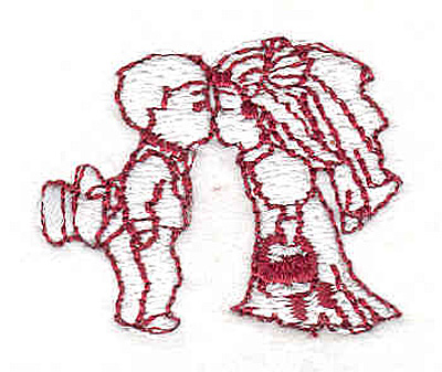 "Embroidery Design: Bride and Groom 1.40"" w X 1.20""h"
