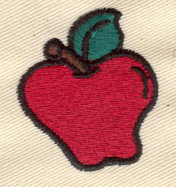 Embroidery Design: Apple 1.45w X 1.65h