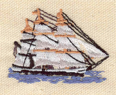 Embroidery Design: Tall ship 2.10w X 1.55h
