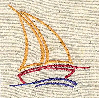 Embroidery Design: Stylized sailboat 2.30w X 2.35h