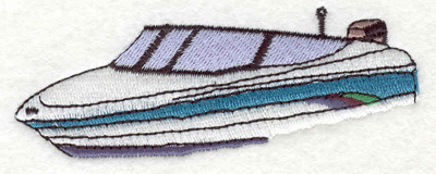 "Embroidery Design: Speedboat A 3.70""w X 1.35""h"