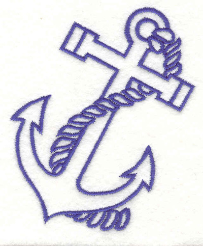 """Embroidery Design: Anchor with rope D 2.95""""w X 3.60""""h"""