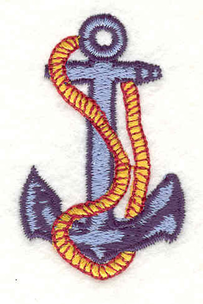 """Embroidery Design: Anchor with rope E 1.34""""w X 2.14""""h"""