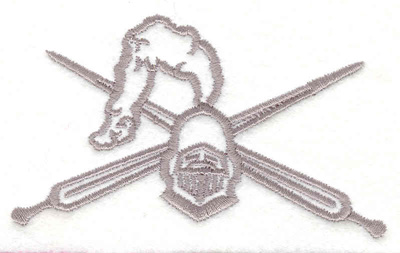 """Embroidery Design: Knight's Helmet with Swords  2.20"""" x 3.75"""""""
