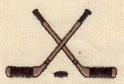 Embroidery Design: Crossed hockey sticks with puck 2.25w X 1.45h