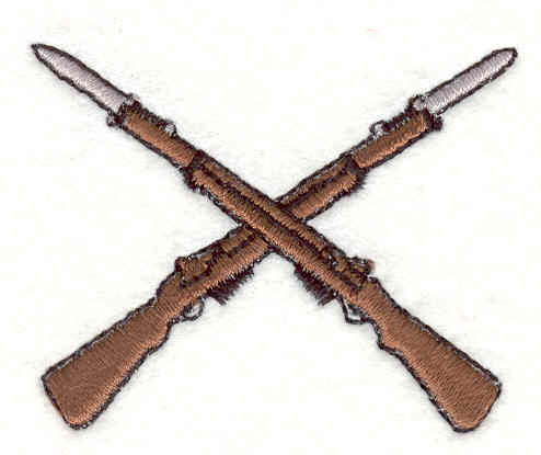 Embroidery Design: Rifles Crossing 1.75w X 2.20h