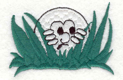 "Embroidery Design: Golf ball hiding 2.50""w X 1.80""h"