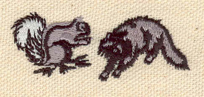 Embroidery Design: Squirrel and racoon 2.13w X 0.83h